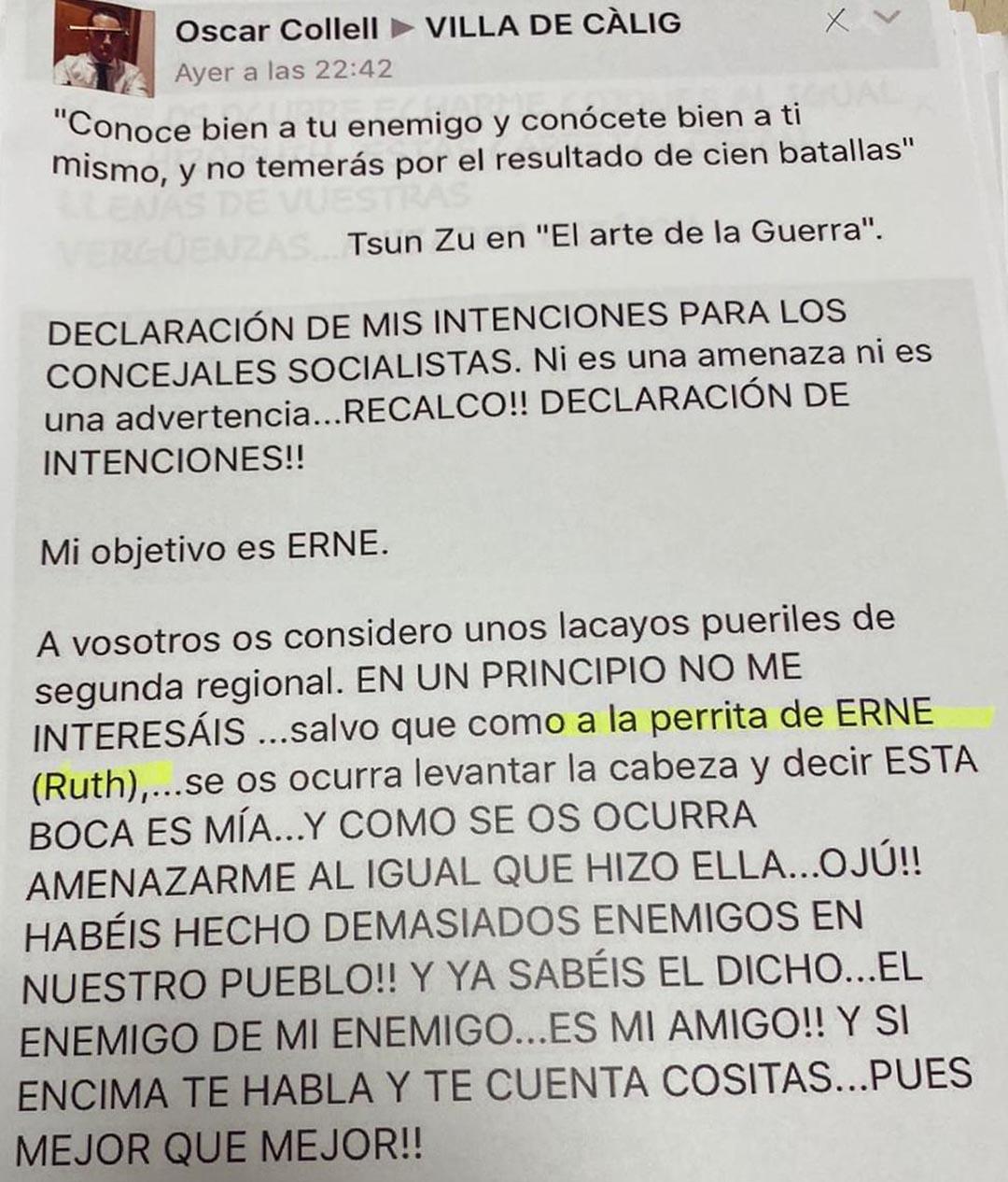 """El portaveu del PP a Càlig li diu """"perrita"""" a la regidora i diputada Ruth Sanz"""