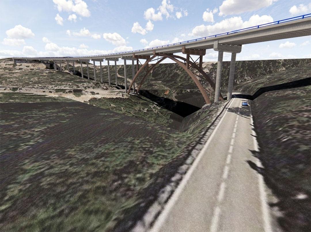 Comença a construir-se el gran arc metàl·lic del viaducte de la Bota