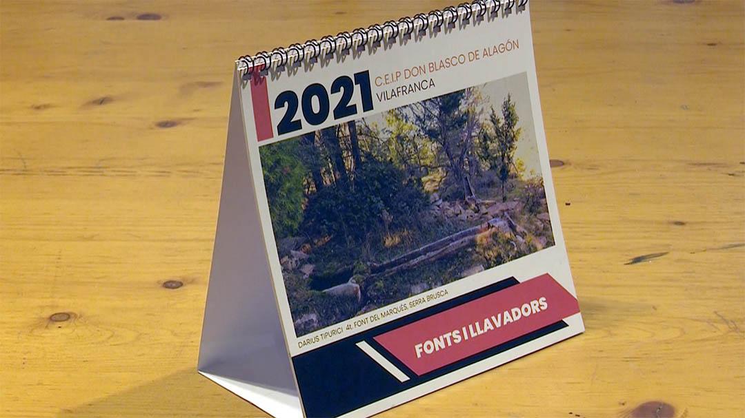"""L'escola de Vilafranca fa un calendari amb """"Fonts i llavadors"""""""